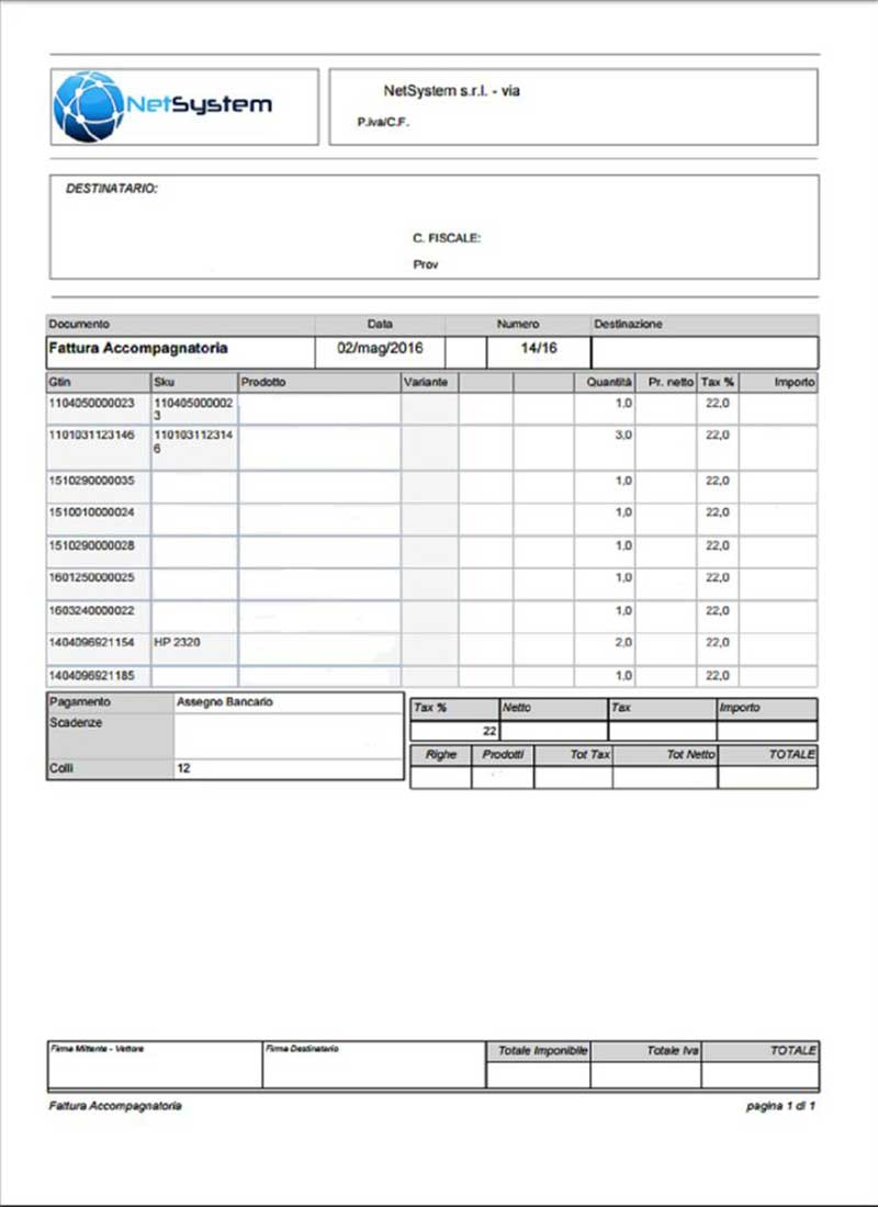 Software gestionale: documento